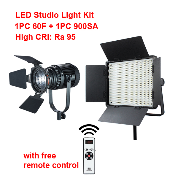 LED Studio Light 1x CN-60F LED Spot Light+1x CN-900SA LED Panel Light  Ra95 2.4G Wireless Remote Control