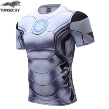 TUNSECHY avengers alliance, superman, captain America brand fashion compression will lycra t – shirts wholesale price support