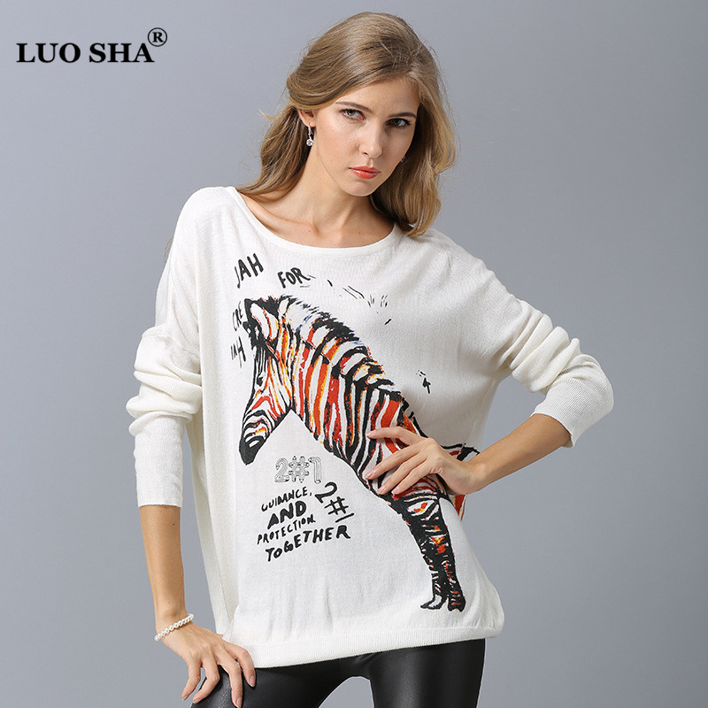4a252e6c100 LUOSHA 2018 Women Autumn Cashmere Knitted Pullovers Women Loose Plus Size  Casual Sweater Pullover Animal Print Pull Femme-in Pullovers from Women s  Clothing ...