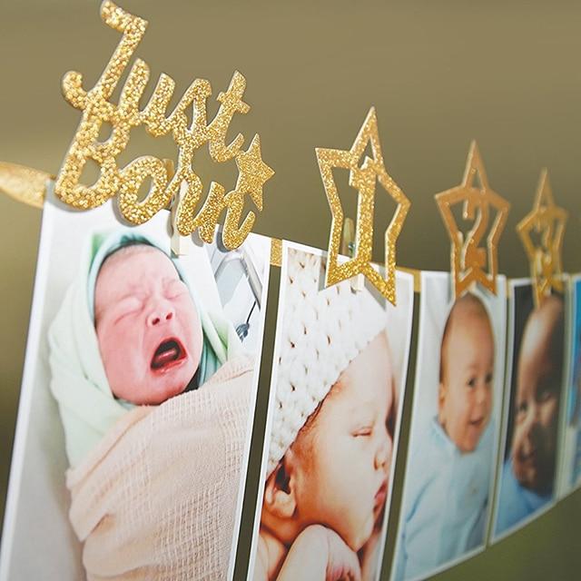 1pc One Year Old Baby Photo Birthday Banner Baby Shower Birthday