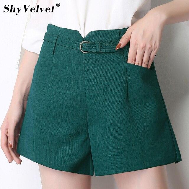 Women Summer Hot Shorts Slim Wide Leg Shorts Casual High Waist Elastic 2018 New Female OL Shorts Girls Green Black Beige Sashes