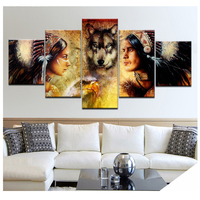 5pcs Diamond Painting Cross Stitch Full Square Drill Diamond Embroidery Mosaic Indians and Wolf pictures of RhinestoneZP 1996