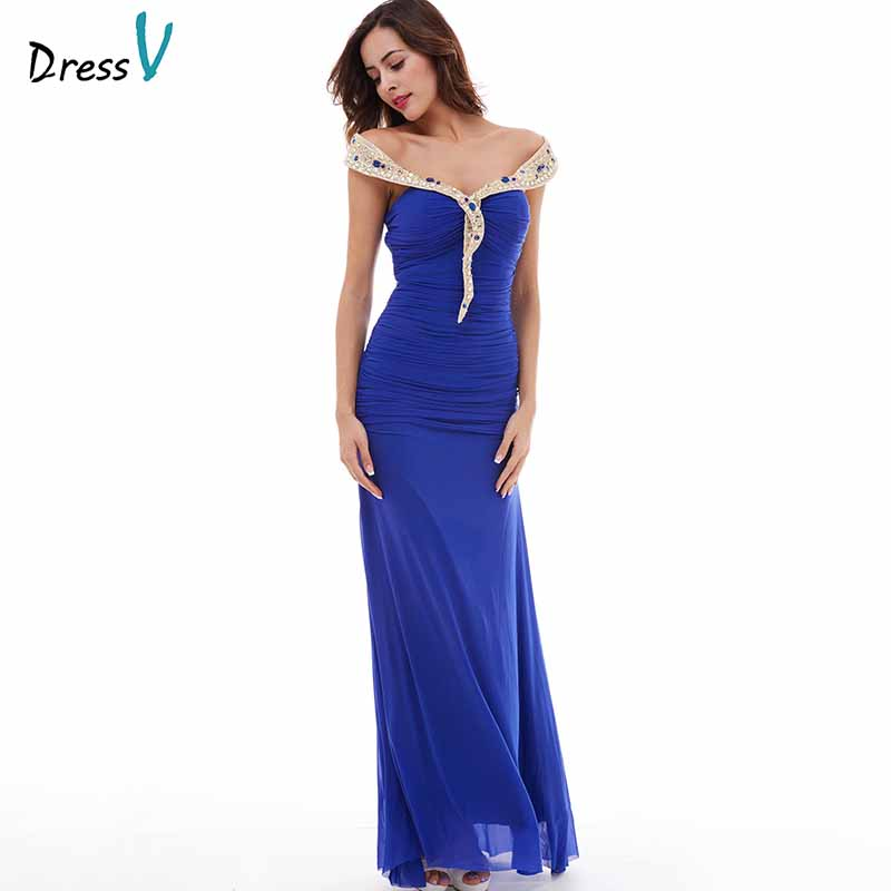 Dressv dark royal blue evening dress cheap off the shoulder sheath floor length wedding party formal dress evening dresses