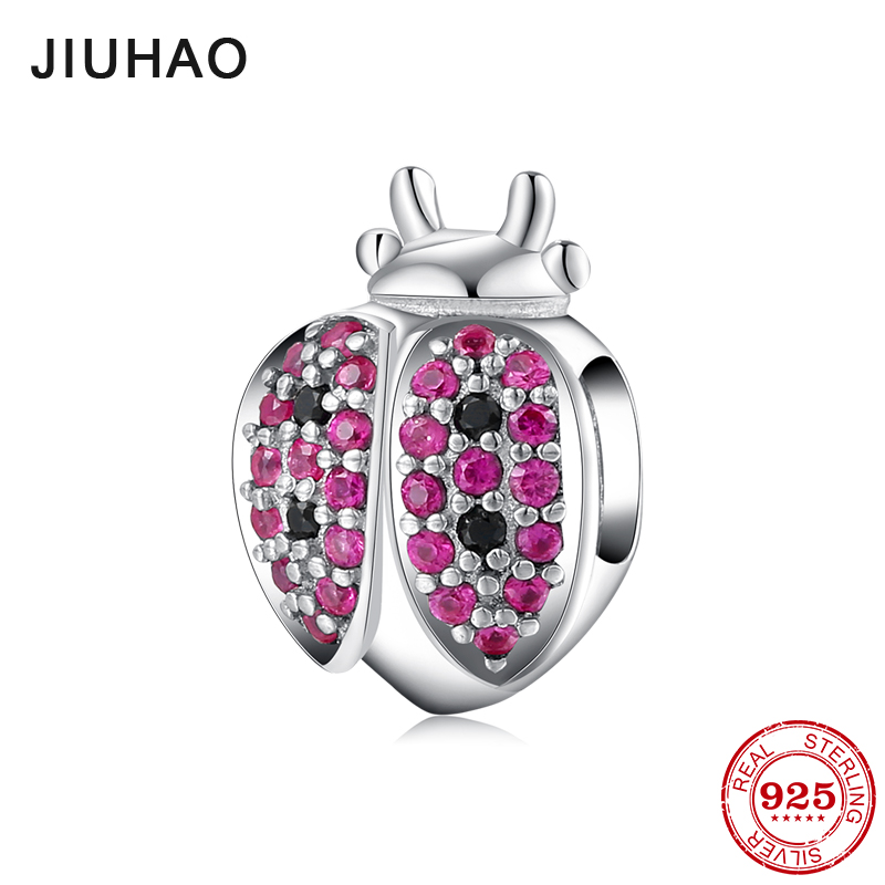 Real 925 Sterling Silver Ladybug Beetle beads Colorful Cubic Zirconia Fit Original Pandora Charms Bracelet Jewelry making