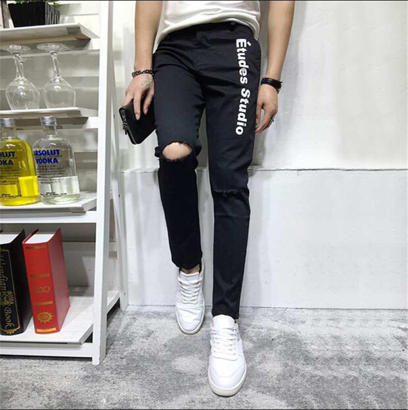 Motorcycle Jeans Men 2015 Hot Sale Hole Ripped Slim Jeans MenMens Pants Slim Jeans Motorcycle Jeans
