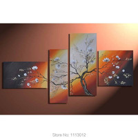 Hand Painted Brown Pink Camellia Flowers Oil Painting On Canvas 4 Pcs Sets Abstract Home Modern Wall Art Decor For Living Room