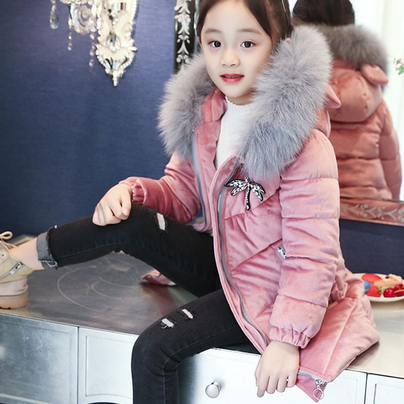 Autumn Jackets For Girls Kids Fashion Parka Coats Fur Hooded Thick Warm Children Winter Coats For Girls Cotton Padded Clothing new 2017 men winter black jacket parka warm coat with hood mens cotton padded jackets coats jaqueta masculina plus size nswt015