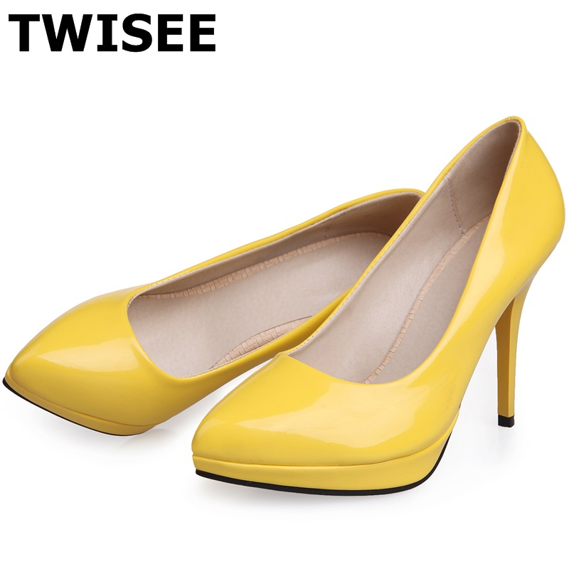 Aliexpress Buy TWISEE 2017 Mature Slip On Women Pumps Wedding Party Shoes Pointed Toe Platform High Heels 10cm Woman Green Purple Black From
