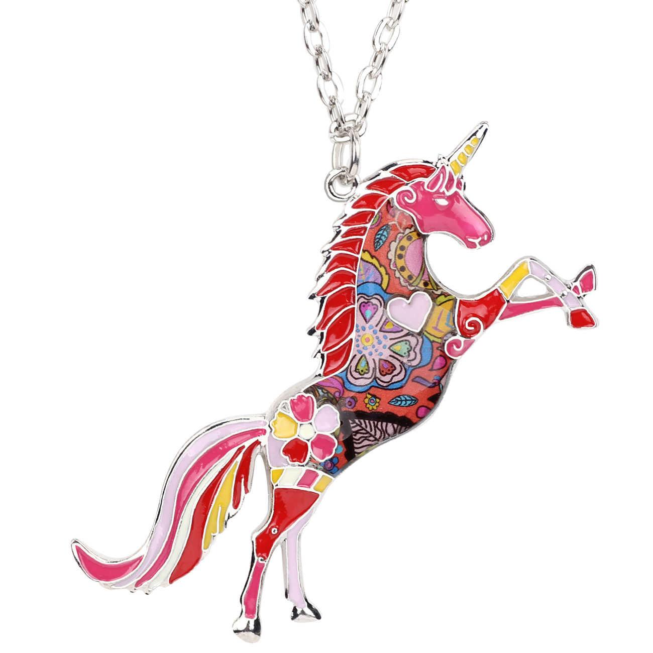Bonsny statement metal esmalte cavalo unicórnio colar pingente colar gargantilha animais charme elegante jóias para mulheres meninas presentes