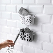 Double Suction Cup Sink Sponge Soap Holder Kitchen Bathroom Drain Storage Rack Sponge Clean Dry
