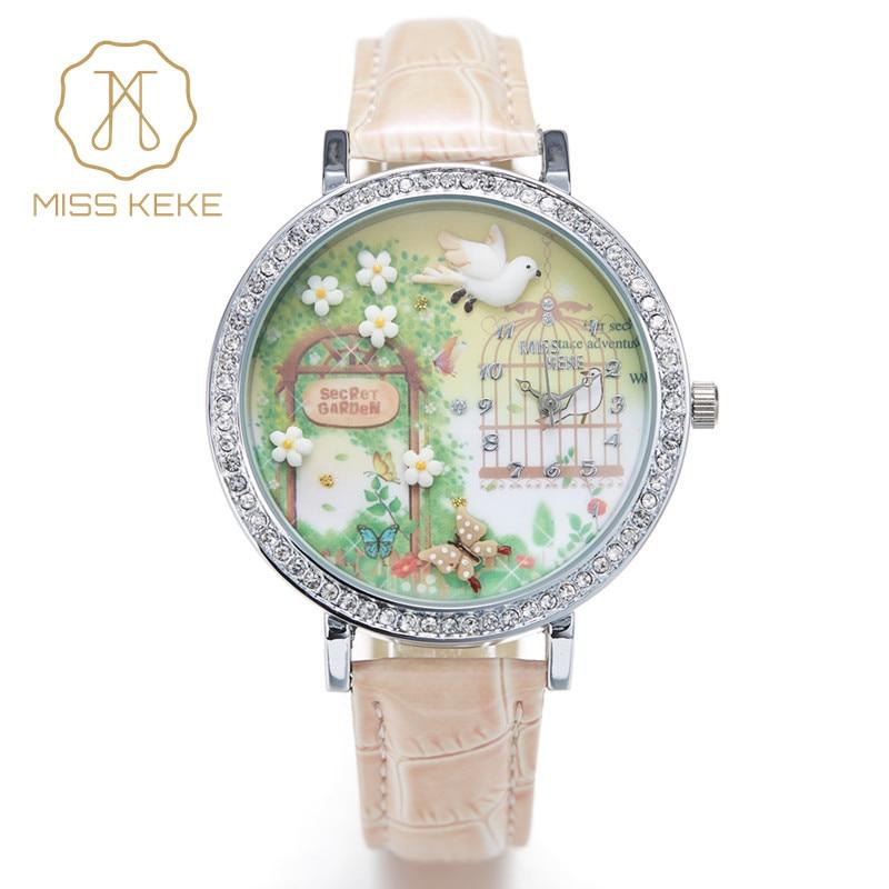 Miss Keke 3d Argile Mignon Mini Monde Golden Retriever Strass Montres Relogio Feminino Dames Quartz En Cuir Montres 1050