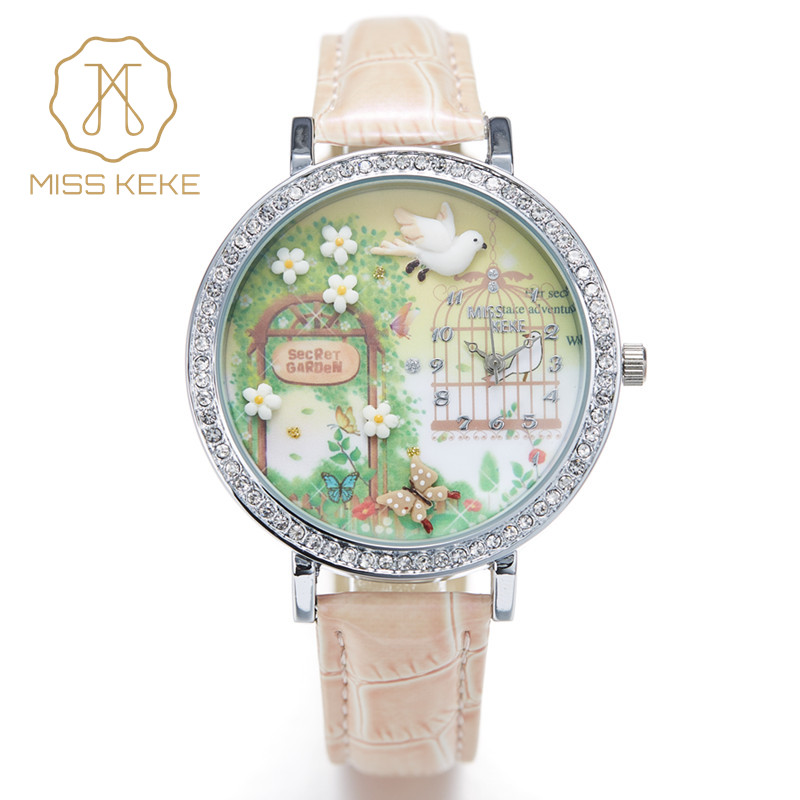 Miss Keke 3d Clay Leuke Mini Wereld Golden Retriever Strass Horloges Relogio Feminino Dames Quartz Lederen Horloges 1050