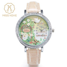 Miss Keke 3d Clay Cute Mini World Golden Retriever Rhinestone Watches Relogio Feminino Ladies Quartz Leather Wristwatches 1050
