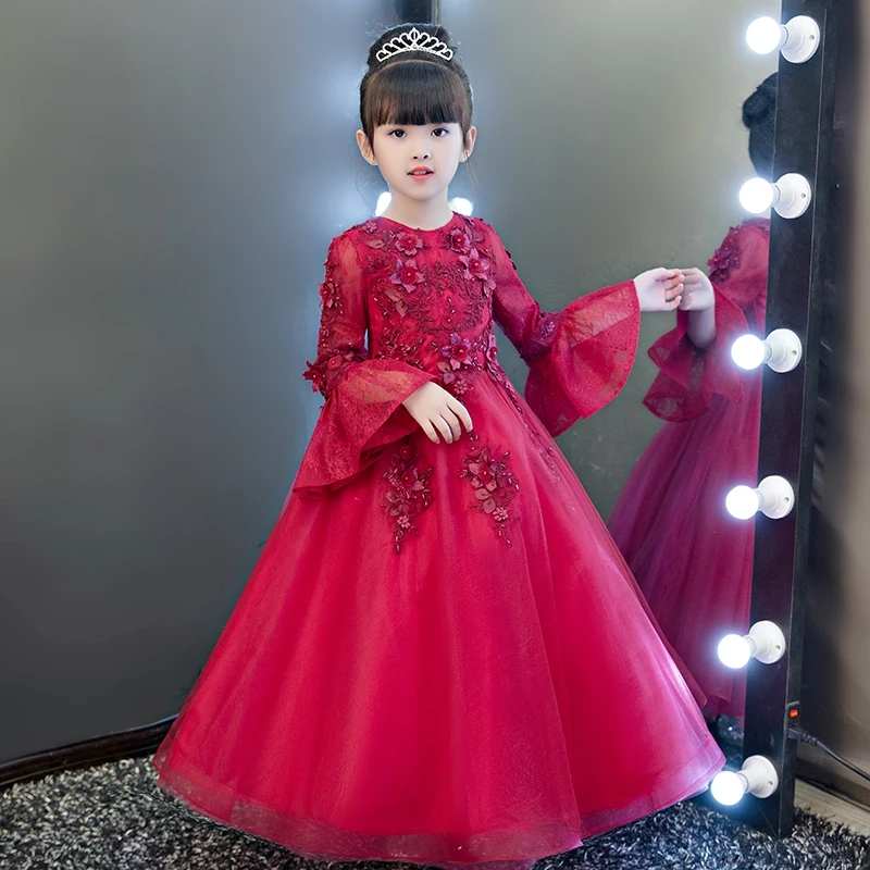 цена на Summer New Children Girls Red Pink Color Fashion Flare Sleeves Birthday Wedding Party Ball Gown Dress Kids Babies Pageant Dress