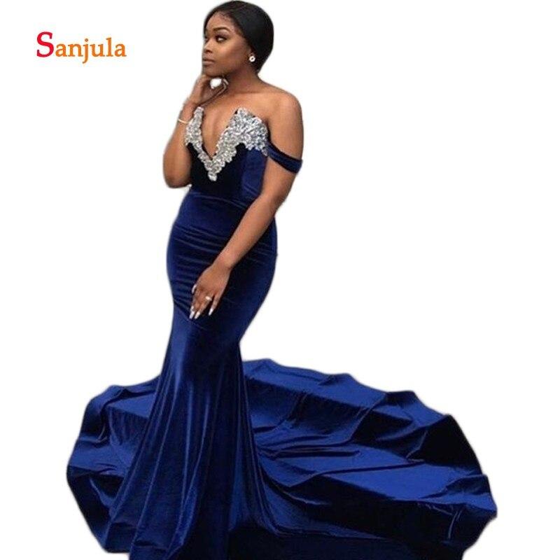 Sirène velours robes de soirée formelles col en V profond Sexy longues robes de soirée bleu marine robes de bal avec Appliques perlées D470