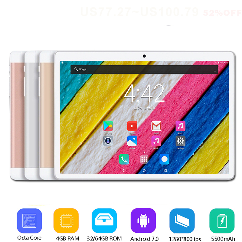 2019 New 10 inch tablet PC Octa Core 4GB RAM 64GB ROM Android 7.0 WiFi Bluetooth Dual SIM Cards 3G 4G LTE Tablets 10.1+Gifts