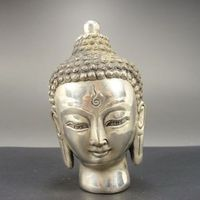 Exquisite Chinese collectable old handwork Tibetan Silver Buddha head statue sculpture