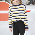 College Wind Soft All Match Loose Multicolor Striped Causal Long Sleeve Female Sweaters