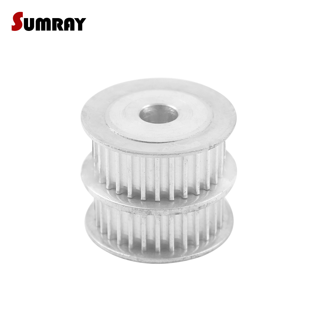 SUMRAY 3M 20T Double Head Timing Pulley 8/10/12mm inner bore 11/16mm width Combined Aluminium Motor Pulley for 3D Printer все цены