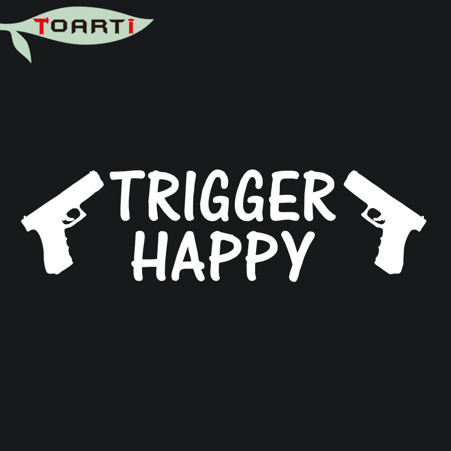 Trigger happy sticker guns 9mm pistol vinyl laptop decal car stickers art design for car window computer funny car styling in car stickers from automobiles