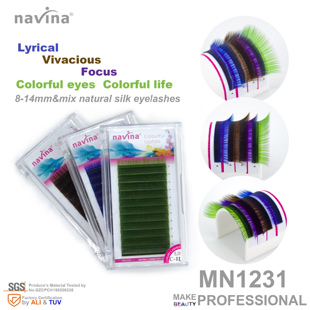 Navina Colorful Natural  Silk False Eyelashes Of Makeup,Curl CD,Thickness 0.07-0.10mm,Length 8-14mm, Colorful Eyelahes