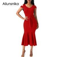 Ailunsnikaผู้หญิงสวมชุดทำงานอย่างเป็นทางการสีแดง