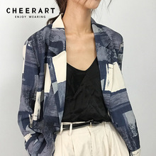 Blue Blazer Coat One-Button-Jacket Women Cheerart Block-Print Casual Color Fall Femme