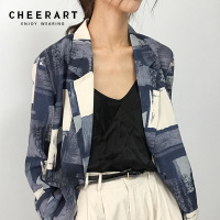 Cheerart Autumn Blazer Women Color Block Print Blue Blazer Femme One Button Jacket Ladies Blazer Casual Coat Fall 2018