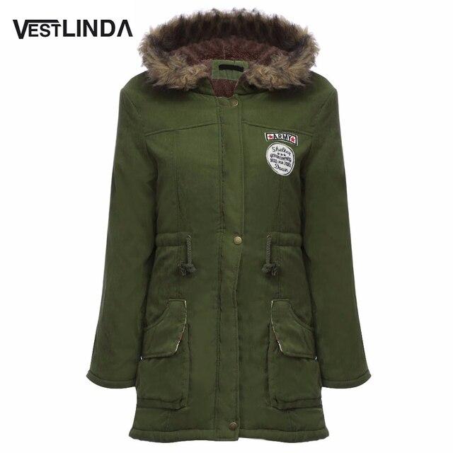 VESTLINDA Пальто Большой Размер Меха С Капюшоном Вниз Пальто Army Green шнурок Куртки Пальто Зимняя Куртка Женщин Теплые Пальто Парки Плюс размер