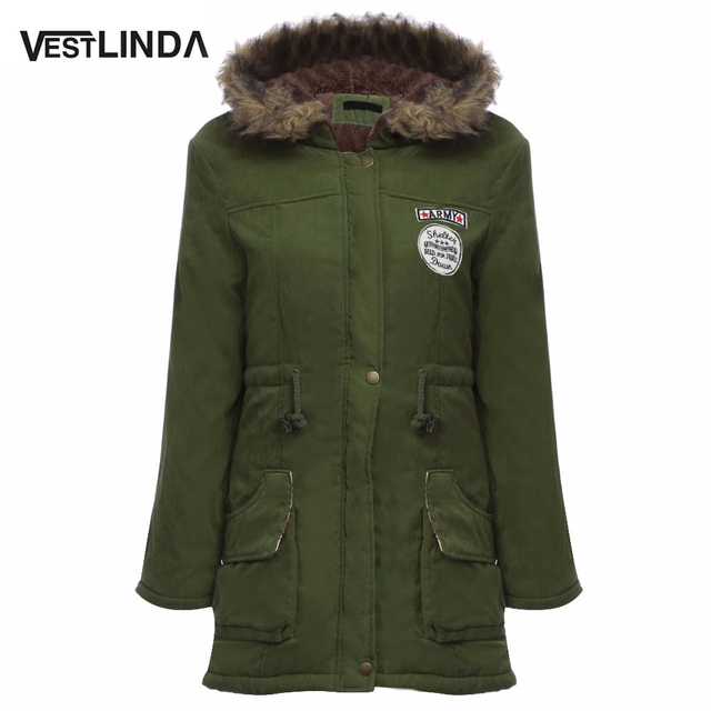 VESTLINDA Coats Big Size Fur Hooded Down Coat Army Green Drawstring Jackets Coat Winter Jacket Women Warm Coats Parkas Plus Size
