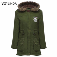 VESTLINDA Coats Big Size Fur Hooded Down Coat Army Green Drawstring Jackets Coat Winter Jacket Women Warm Coats Parkas Plus Size