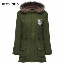 VESTLINDA Coats Big Size Fur Hooded Warm Coat Army Green Drawstring Jackets Coat Winter Jacket Women Warm Coats Parkas Plus Size