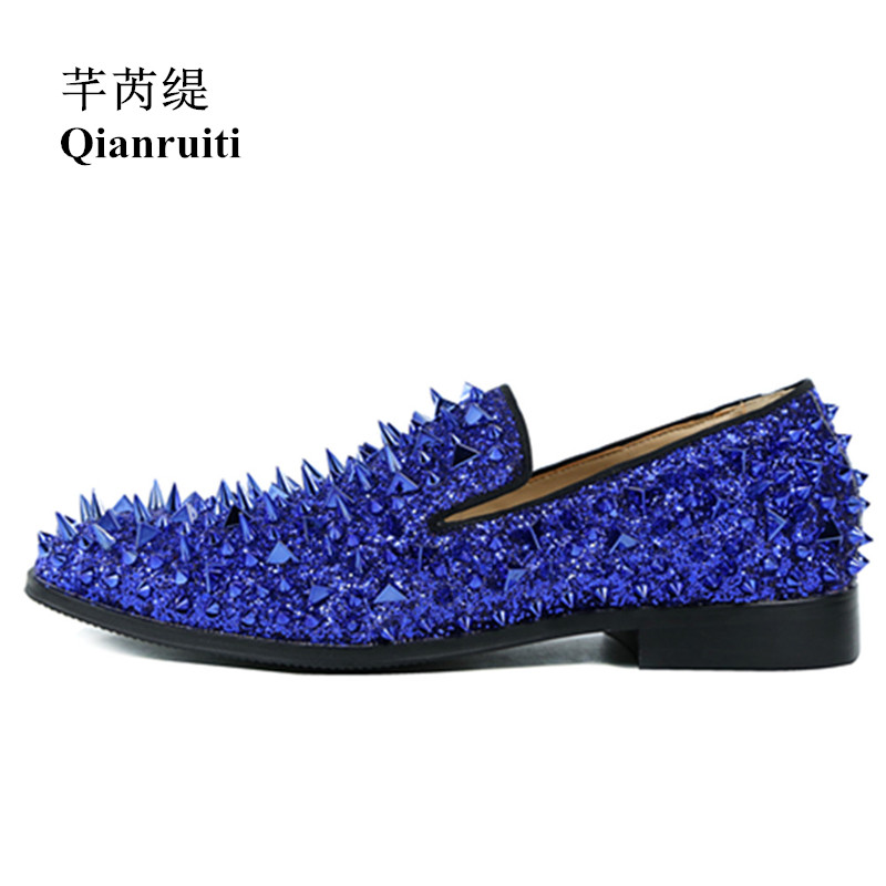 Qianruiti High Quality Slip-on Loafers EU39-EU46 Men Glitter Spiked Shoes Royal Blue Dandelion Flats Wedding Shoes for Men Men qianruiti men alligator gold loafers metal toe business wedding oxfords high quality lace up slippers men dress shoe eu39 eu46