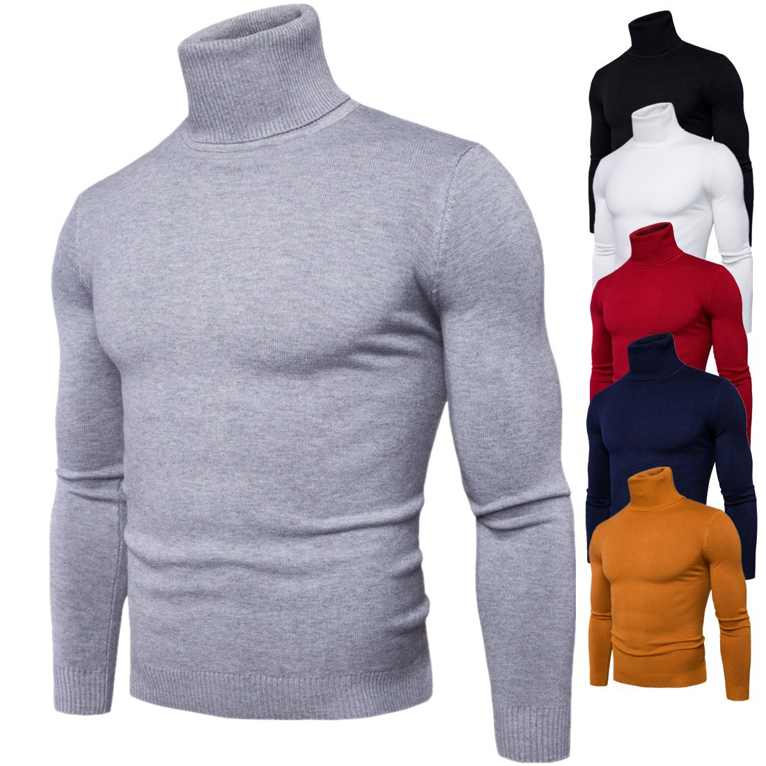 Men Solid Turtleneck Sweater Winter Slim Knitted Oversized Grey Sweater Boys Long Sleeve Male Pullover Plus Size Casual Knitwear