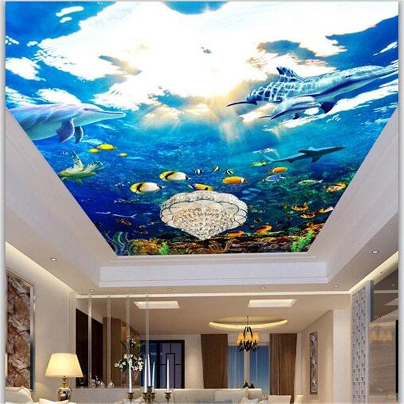 beibehang Custom Wallpapers 3D Stereo Murals Maritime World Dolphins Ceiling Living Room Murals papel de parede 3d wall paper