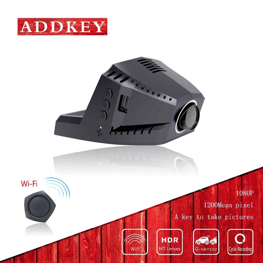 imágenes para ADDKEY dvr coche dvr WiFi APP cámara del coche Novatek 96655 coches dvr sony imx322 visión nocturna dual de la lente mini cámara de 170 grados dash cam