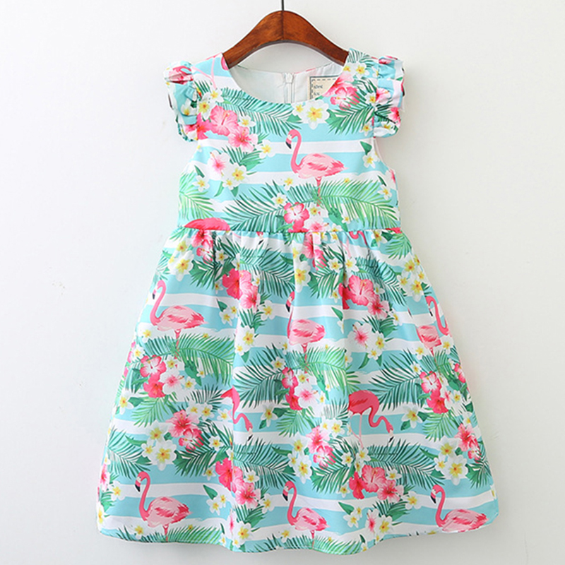 Children Clothes Dress 2018 New Summer Style Kids European And American Flamingos Princess Dress Design 3-8Y Baby Girls Dress 100% real photo brand kids red heart sleeve dress american and european style hollow girls clothes baby girl clothes