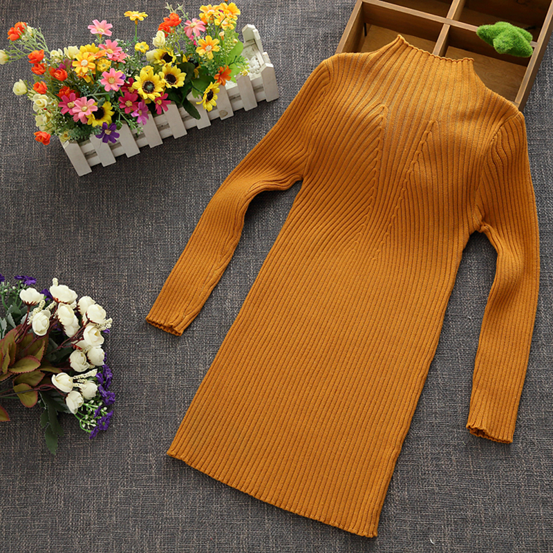 New 2018 Autumn Winter Girls Kids Children Long Knitted Sweater For Big Teenager Girls Clothes Student Green Jumper Sweaters 34 pink perkins collar knitted thin jumper