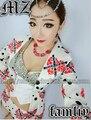 Hot NEW das mulheres Dj traje cantora moda coração vermelho em um fundo branco terno traje das mulheres / sl