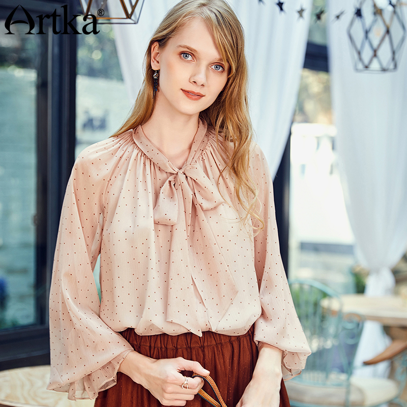 ARTKA 2018 Autumn and Winter New Women Solid Full Flare Sleeves Doted Tie Bow Tie Long
