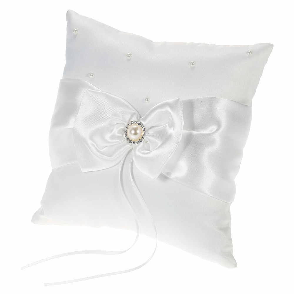 7 * 7 inches White Satin Rhinestone Ribbon Bowknot Ring Pillow Wedding Ring Bearer Cushion  Decor Wedding Flower Girl Basket Set