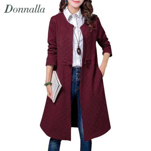 Mulheres Trench Coat 2016 Moda Estilo Chinês Do Vintage de Manga Longa Com Decote Em V Casacos Outono Ladies Cotton Linen Longo Outerwear