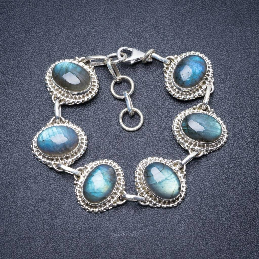 Natural Labradorite Handmade Unique 925 Sterling Silver Bracelet 7-8