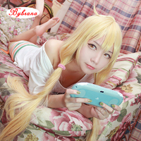 Bybrana 80CM long Straight Hair Milk Yellow Wig for Women Heat Resistant Synthetic Hair Halloween Party Anime Game Cosplay Wig