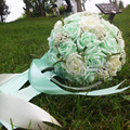 2017 In Stock Romantic Wedding Bridesmaid Rose Pearls Artificial Flowers Bridal Bouquets Handmade Wedding Bouquets