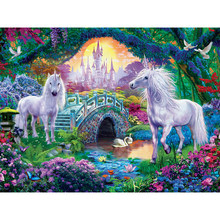 Two white horse Full drill diamond embroidery 3d diamond cross stitch fashion diamond mosaic pictures of rhinestones YY(China)