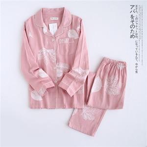 Image 2 - Frische ahorn blatt pyjama sets frauen 100% gaze baumwolle Japanischen sommer langarm casual nachtwäsche frauen einfache pyjamas