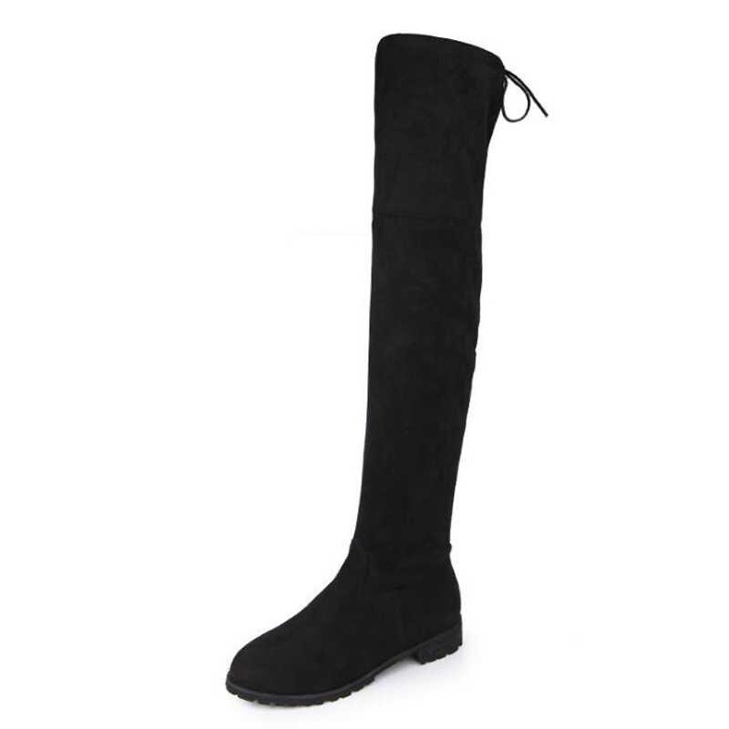 נשים גבוהה מגפי 2018 חם חורף נעלי צאן אופנה נשים מגפי החלקה על מגפי הברך בתוספת גודל 34-43