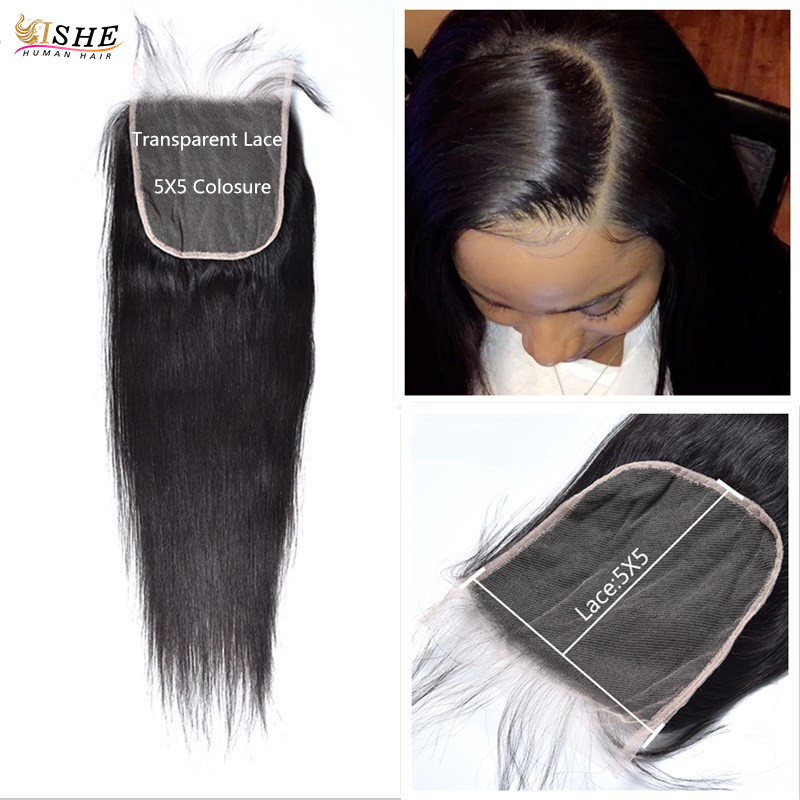 Transparent Lace Closures Straight 5x5 Big Swiss Lace Closure Pre Plucked With Baby Hair Peruvian Human