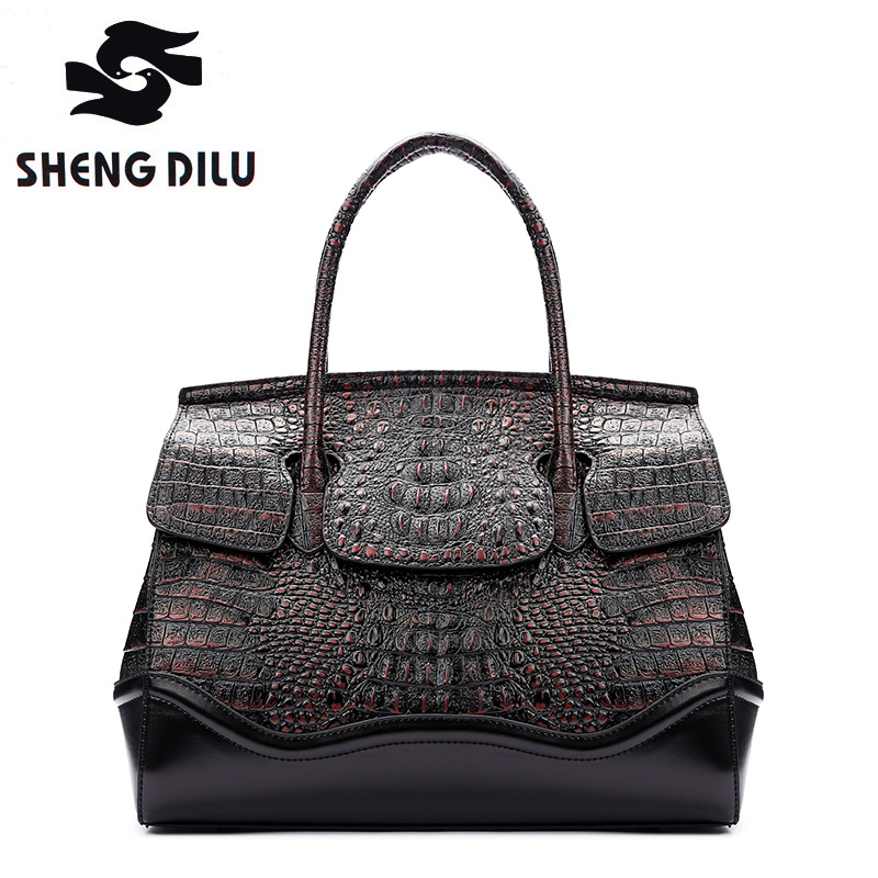 genuine leather handbag shengdilu brand new 2018 women cow leather bolsa feminina Retro Alligator shoulder bag free Shipping sales zooler brand genuine leather bag shoulder bags handbag luxury top women bag trapeze 2018 new bolsa feminina b115